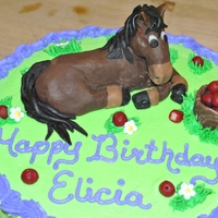 Elicia's Horse Cake Horse, apples and bucket is made of modeling chocolate.Cake is iced with BC decorated with fondant flowers.