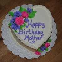 Happy Birthday Mom Heart shape cake with BC icing