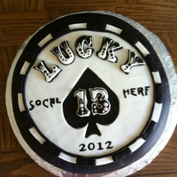 Lucky 13 Poker Chip For a local charity event. All hand cut and painted. Several layers of MMF on a red velevet cake with cream cheese butter cream icing.