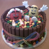 M&m Chocolate Birthday Cake This is an m&m chocolate birthday cake made with a chocolate madeira sponge with kit kats around the outside. Also I have made the m&...