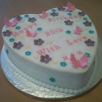 Heart Birthday Cake This is a heart birthday cake that is a madeira sponge with raspberry jam and buttercream. It has butterflies and flowers on top in...