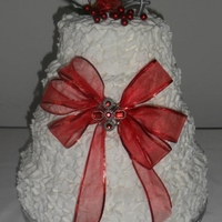 Messy Ruffle Holiday Wedding Cake