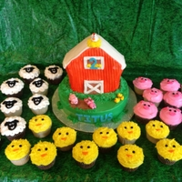 E-I-E-I-O Its A Barnyard Party! Barnyard cake with sheep, pig, and chick cupcakes