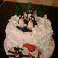"Kids Christmas Cake Fruit cake covered with Almon paste , royal icing , gumpaste figures and glass sweet ""lake"""