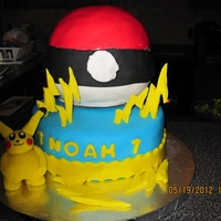 Pokemon Cake Pokeball is a ball cake with fondant decorations. Pokemon is made out of fondant