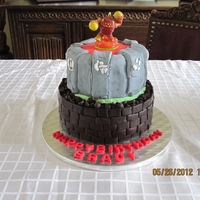 Skylanders Cake Skylanders cake covered in fondant. Topper is real Skylander as it was part of a gift for my nephew