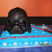 Darth Vader This was a hard cake to carve. Darth Vader's mask is all cake covered in fondant.