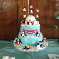Penguin Cake This was for a first birthday The igloo on top is the smash cake.