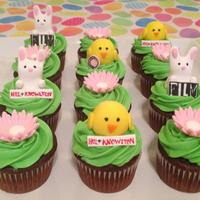 Bunny Chick Daisy Cupcakes These were made for a business and the logos of 3 companies that were gathering for a meeting are shown on the cupcakes.