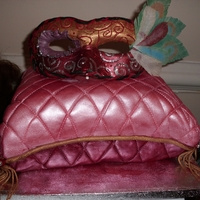Pillow And Masquerade Mask hand carved fudge cake 100% edible mask made from sugar paste and hand decorated