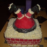 Santa Upside Down In Chimney made front fruit cake and hand carved