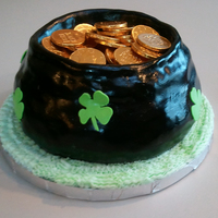 Pot Of Gold My first 3D cake. It didn't turn out as well as I wanted, but it's okay. I couldn't get spray paint to do anything to the...