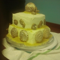 Beach Theme Cake Sour Cream Pound Cake with Sea shells made out of chocolate and painted with edible paint