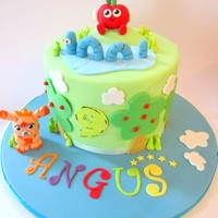 "6 Round Orange Amp Poppyseed Cake With Chocolate Ganache Moshi Monsters Inspired By Litlle Cherry Cake Companys Designs   6"" Round Orange & Poppyseed cake with Chocolate Ganache. Moshi Monsters - Inspired by Litlle Cherry cake company's designs."