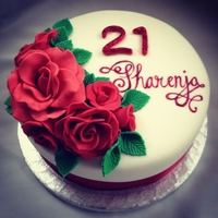 Red Rose Red Velvet Birthday Cake   Red velvet cake with cream cheese frosting and red roses (and a glittery 21)