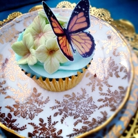 Butterfly Tea Cupcake Adorned with fondant hydrangeas (love these flowers!) and a edible paper butterfly - another cupcake for my tea party