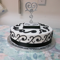 Black And White Buttercream with scroll desing