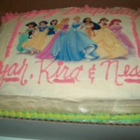 Disney Princess used an edible image....for the first time...had fun doing this cake!white cake with buttercream icing.