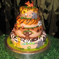 Safari Baby Shower  This is a replica of a cake online with a few changes of my own. Approx 10hrs of work including fondant that did not want to work with me...