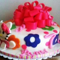 Hello Kitty  I combined a cake I saw on this website that was 2 tiers into 1. Unfortunate for me that this day the humidity was murdering my bow which...