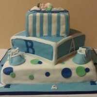 Baby Shower Cake Not one of my best but that day was very muggy and fondant was not participating.