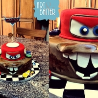 Cars Themed Cake It's a chocolate cake with chocolate frosting.-fondant I made it for my Godson.