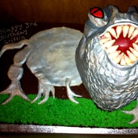 T-Rex ? Dinosaur Head is 5 layers of white cake covered in fondant ... not the best idea. The weight was really heavy and the top 4 layers slid forward in...