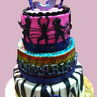 Rockstar Themed Cake White cake with raspberry filling. Buttercream with fondant accents. Rock star theme