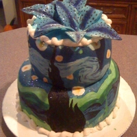 Starry Night My 14-yr old daughter made this cake for her fair 4-H project. Her inspiration was Van Gogh's Starry Night painting. This is a white...