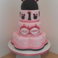 Minnie Mouse Twin Birthday Cake This is for my twin nieces who will be 1 tomorrow and I enjoyed every minute making this for them.