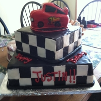 Lightening Mcqueen Fondant, all white cake