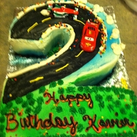 Cars #2 This was fun. It has buttercream icing and nonpareils