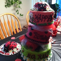 Ladybug Birthday Topsy turvy cake in the theme of lady bug and with daisies! Smash cake is a lady bug!
