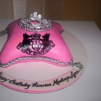 Cake For A Princess I HAND CARVED THIS ONE. I STACKES TWO 12 INCH SQUARE PANS. I TWISTED TWO STRANDS OF FONDANT FOR T HE TRIM AND FREE HANDED THE JUICY COUTURE...