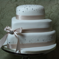 Heart Shaped Wedding Cake   Stacked Hearts with Champagne Ribbon and 'bubbles'