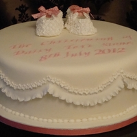 Christening Cake With Gum Paste Baby Booties