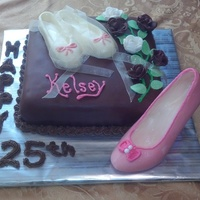 Dance Teacher Birthday Cake White Chocolate Ballet Shoes and Salsa Shoe with gossamer ribbons and edible pearls. Cake is covered in Chocolate Fondant.