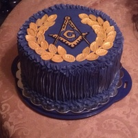 Grand Master's Ball Masonic Cake   Buttercream icing with Fondant Decor. Inside was purple layers with gold icing in between.