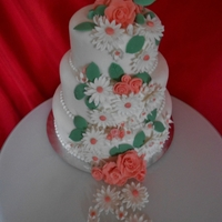 Peach Daisy Wedding Cake peach daisy wedding cake