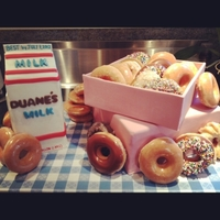 Duane's Doughnut Cake I made this cake for a friend who LOVES doughnuts and milk. The box holding the doughnuts (bought from a doughnut shop) is edible and made...