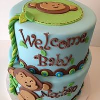 Monkey Baby Shower Cake Cute 2 tier monkey themed baby shower cake