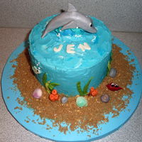 Dolphin Birthday Cake Buttercream with fondant decorations