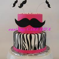 Zebra And Hot Pink Stache Theme Zebra and hot pink 'stache' theme