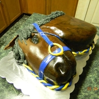 Horse Head CARVED CAKE WITH MMF AND AIRBRUSH DECORATIONS. BUTTER CREAM MANE
