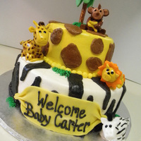 Jungle Happiness Jungle Themed Baby Shower cake.... fondant animals....