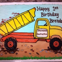 Dumptruck Cake Dumptruck sheet cake. Made with chocolate rocks dumping out of the truck