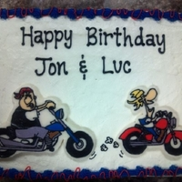 Motorcycle Birthday Sheet Cake motorcycle birthday sheet cake. The motorcycle men are made from a buttercream transfer.