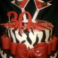 "30Th Birthday My client asked for something zebra print with a martini glass. I happen to know her favorite color is red so I did red accents.8""..."