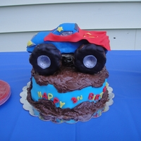 Monster Truck Cake Monster truck cake for my son's 3rd birthday. The truck was formed with rice krispies, then covered and decorated with fondant. The...