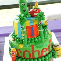 Veggie Tales Cake This cake has butter cream frosting and fondant decorations. The characters are fondant/gum paste.